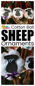 Sheep Ornaments for Kids with cotton balls and cinnamon sticks