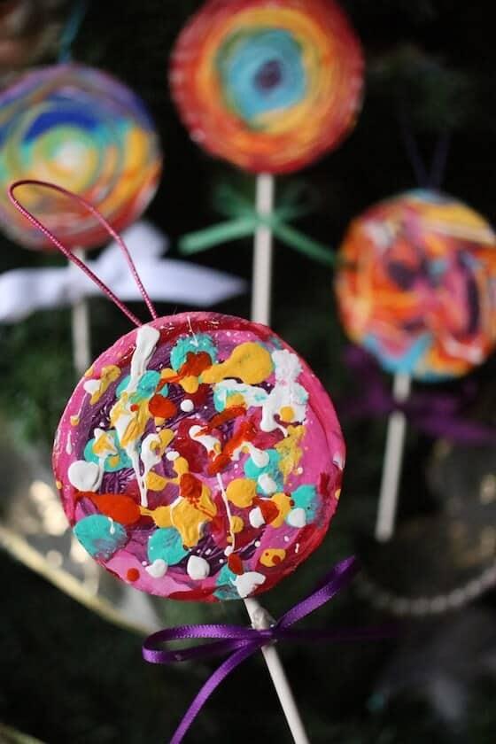 dot painted lollipop craft