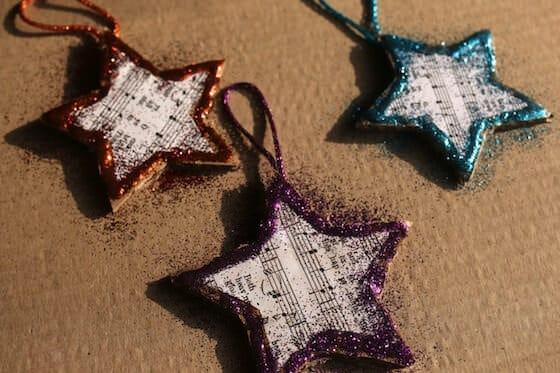 glittered stars on cardboard