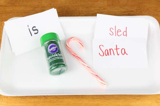supplies for Christmas sprinkles writing tray