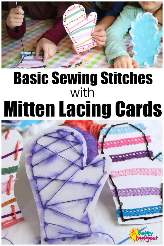 Mitten Lacing Cards - Kids Basic Sewing Stitches