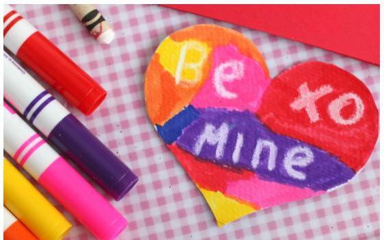 Kid-Made Crayon Resist Valentines Card
