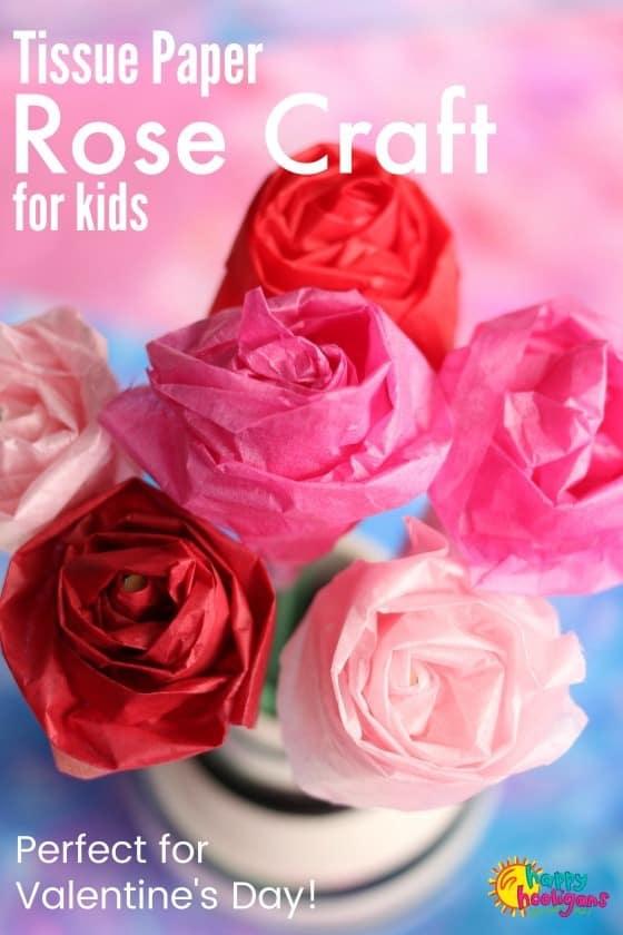 Tissue Paper Rose Craft for Kids