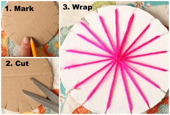 Step photos for making a circular cardboard loom