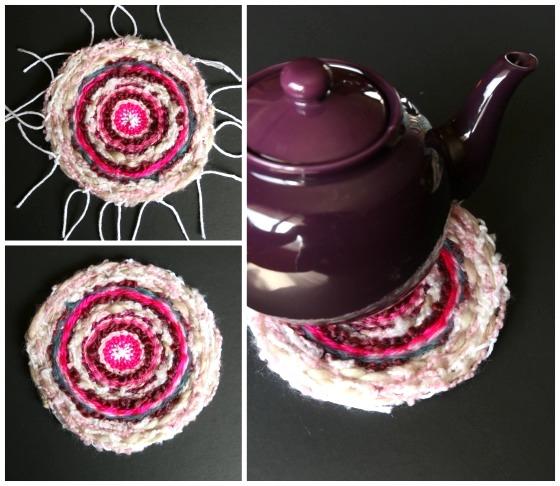 teapot on homemade woven trivet