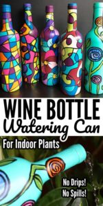 Painted Wine Bottle Indoor Watering
