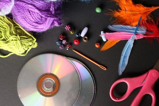 CDs, yarn, beads and feathers