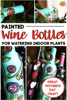 Painted Wine Bottles - Indoor Watering Can