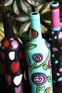 Painted Wine Bottles for watering indoor plants