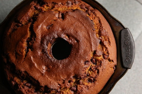 Overhead View Baked Pumpkin Chocolate Chip Cake in Bundt Pan