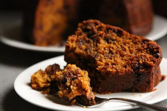 Pumpkin cake and fork on plate