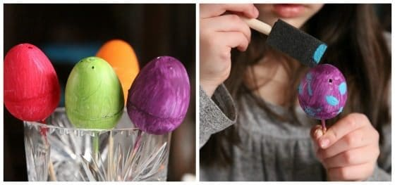 painting eggs in bold colours