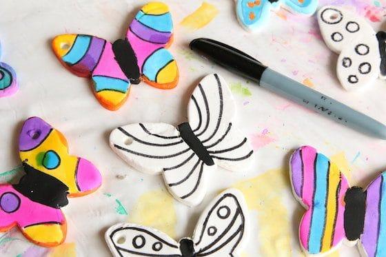 clay dough butterflies and black sharpie