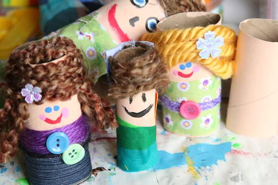 homemade dolls made from cardboard rolls