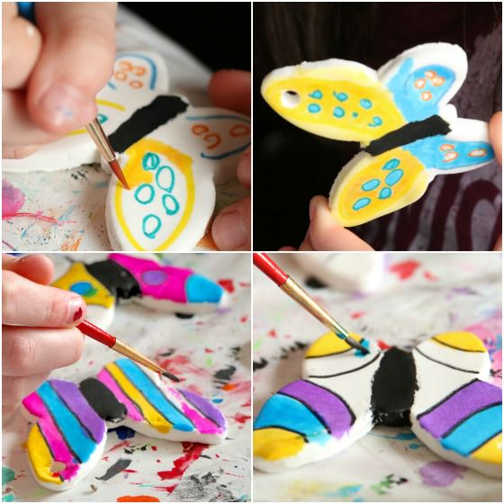 kids painting clay dough butterflies with liquid watercolours
