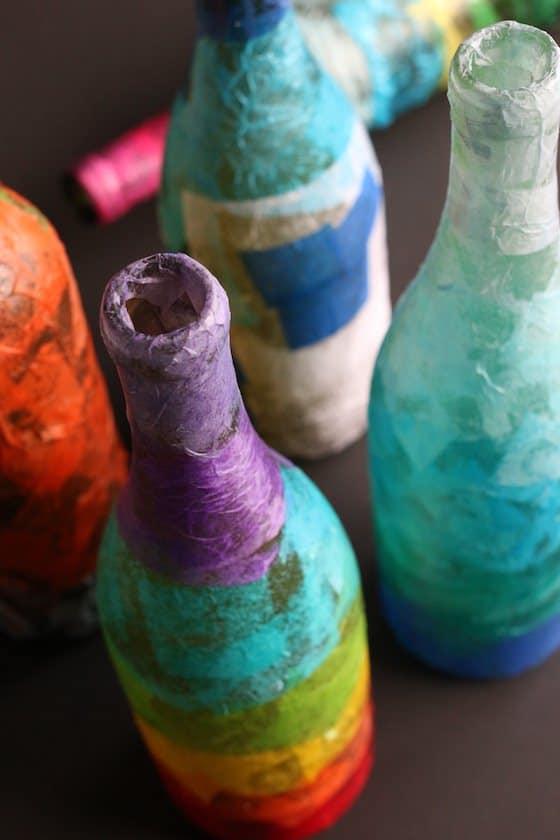 topdown photo of rainbow wine bottle