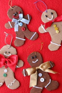 cardboard gingerbreadman ornaments - feature image