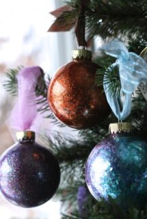 DIY Glitter Ornaments purple, copper and blue - feature image