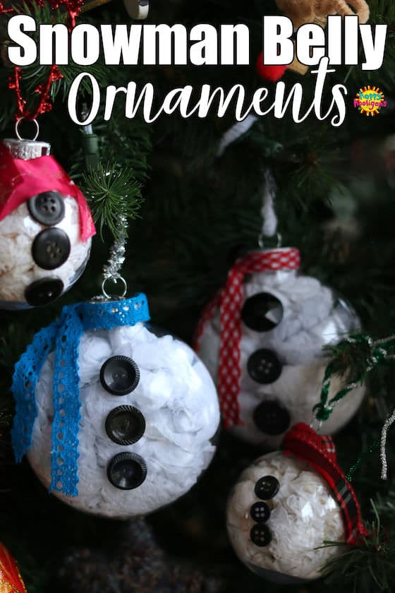 Snowman Belly Ornaments - clear plastic ornaments stuffed with white tissue paper