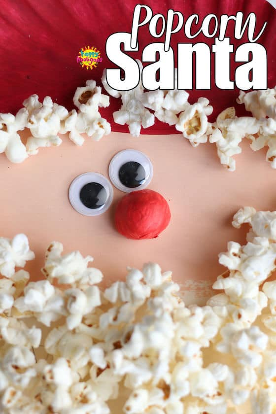Paper Plate Popcorn Santa Craft - Pinnable Image