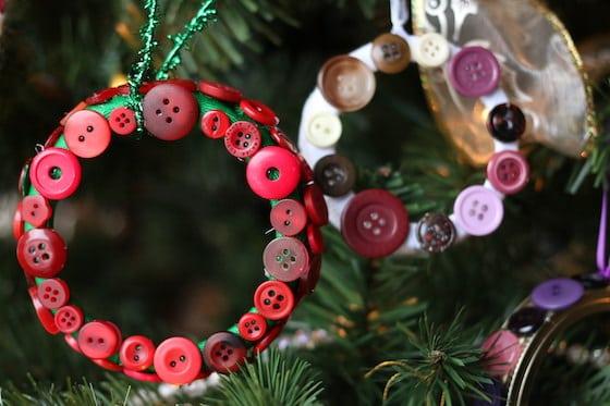2 Mason lid wreaths ornaments on Christmas tree