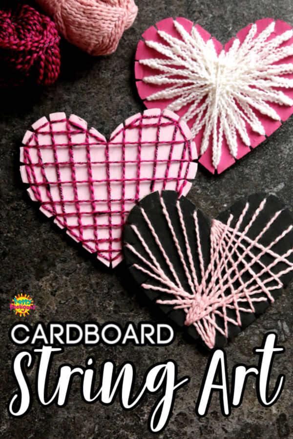 Cardboard Heart String Art - Pinnable Image