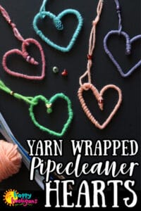 Yarn Wrapped Pipe Cleaner Heart Ornaments