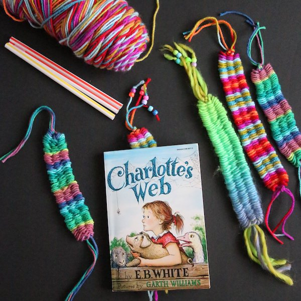 bookmark, headbands and bracelets woven on straws