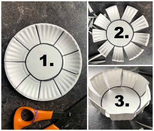 step by step collage how to cut and fold a paper plate into a bowl