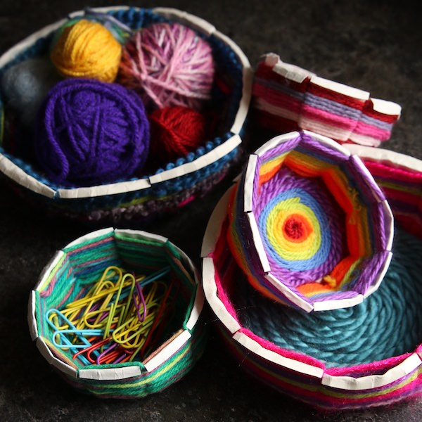 Paper Plate Bowl Weaving