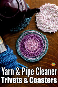 Homemade Trivets Coasters - Yarn and Pipe Cleaners