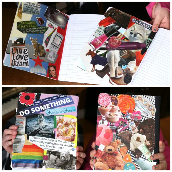 inside and back covers collaged journals