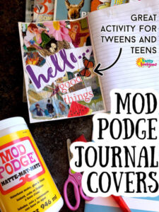 how to decorate a journal cover with mod podge and magazine clippings
