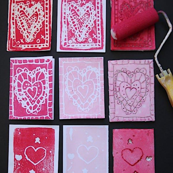 square image valentines block print