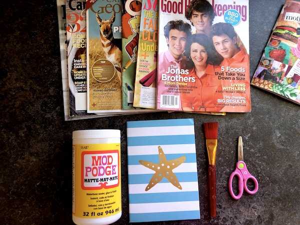 mod podge, magazines, journals, scissors, paint brush