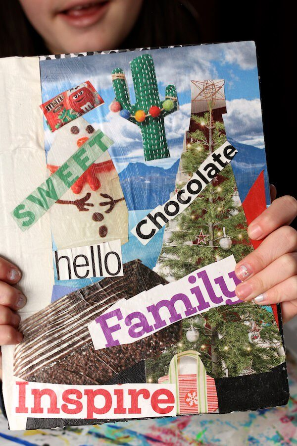 tween holding personalized journal - hello, family, inspire, chocolate