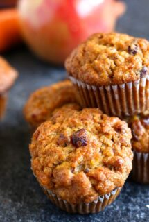 Carrot muffins with apple, nuts , coconut and cranberries