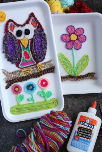 owl and flower art on styrofoam tray made with yarn