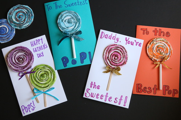 4 lollipop father's day cards horizontal image