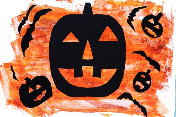 Pumpkin Bat Silhouette Art on Painted Parchment Paper – Activity Craft Holidays, Kids, Tips