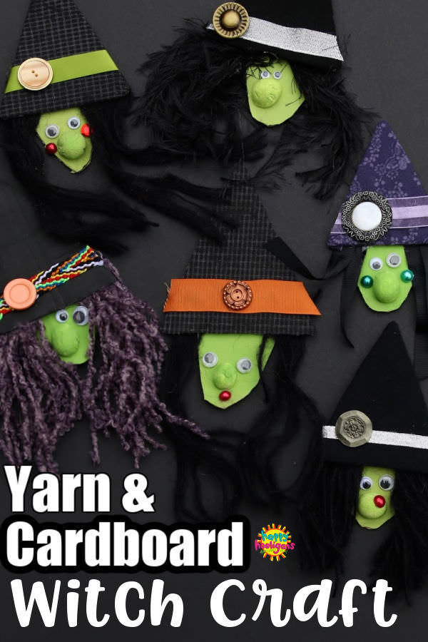 Yarn and Cardboard Witch Craft for Kids