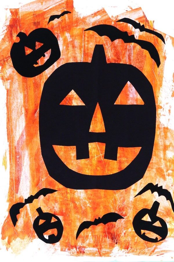 Halloween Silhouette Art on Painted Parchment Paper or Wax Paper