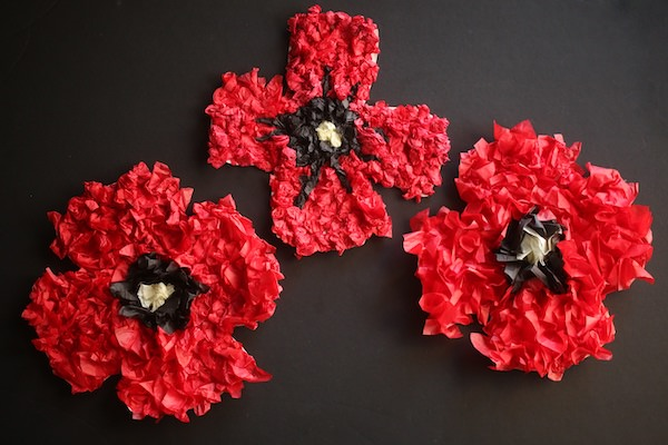 3 puffy tissue paper poppies horizontal – Activity Craft Holidays, Kids, Tips