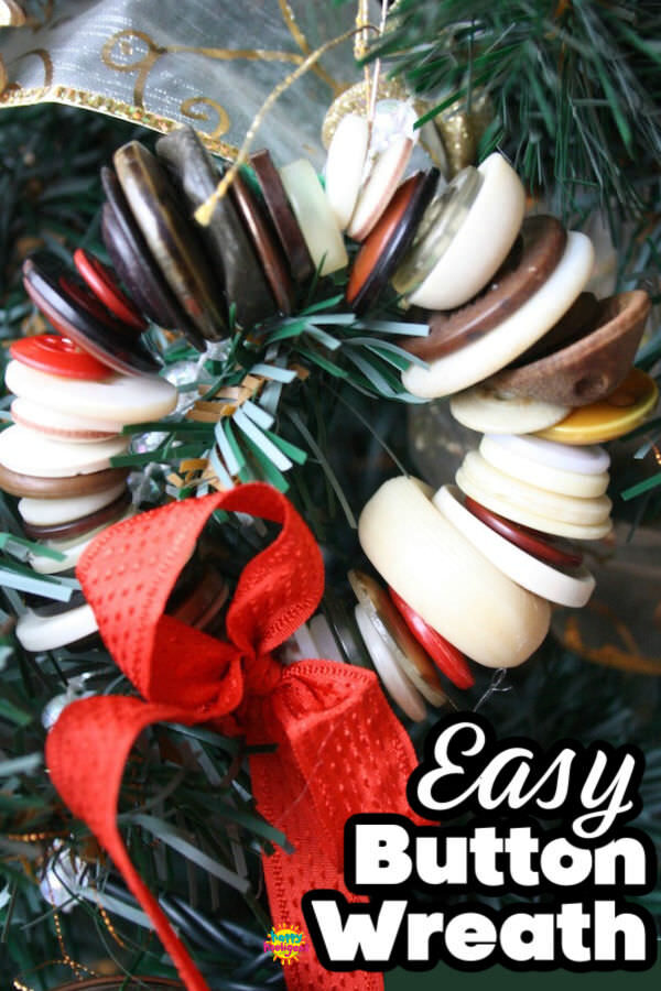 Button Wreath Ornament with pipe cleaners and vintage buttons