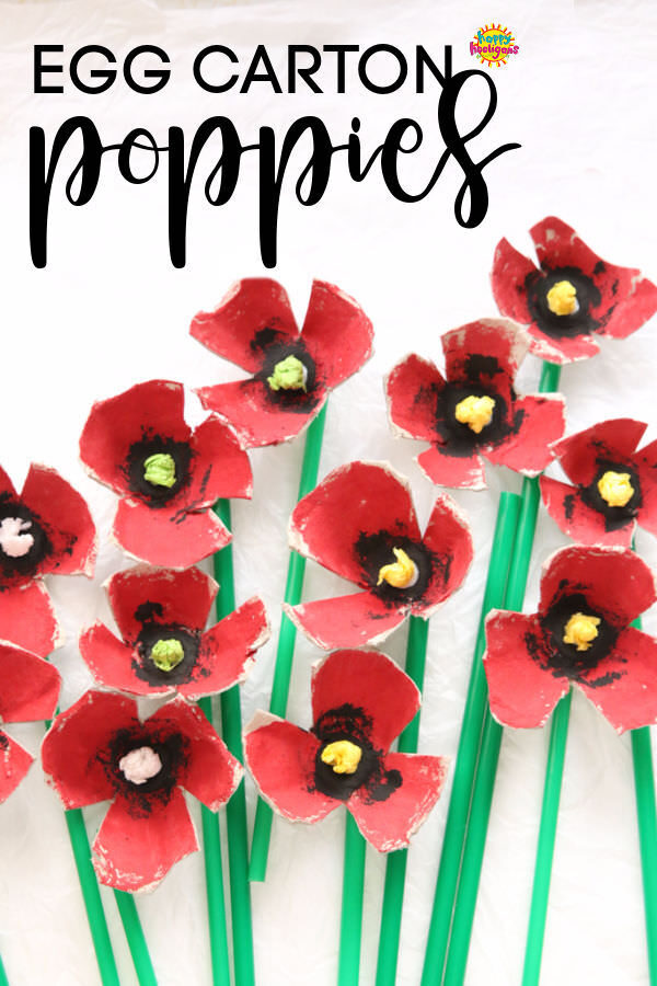 Egg Carton Poppies with drinking straw stems on white backdrop