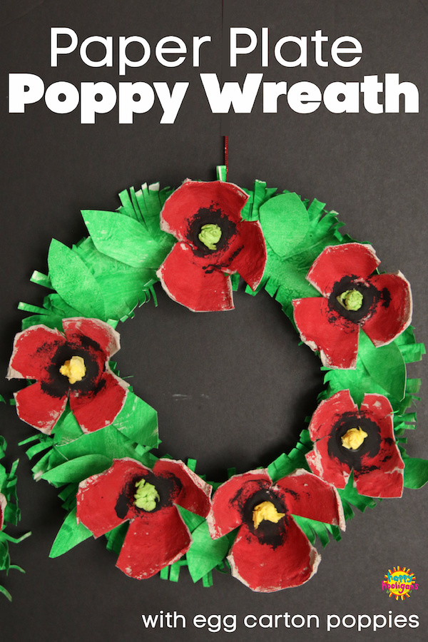 paper plate and egg carton poppy wreath