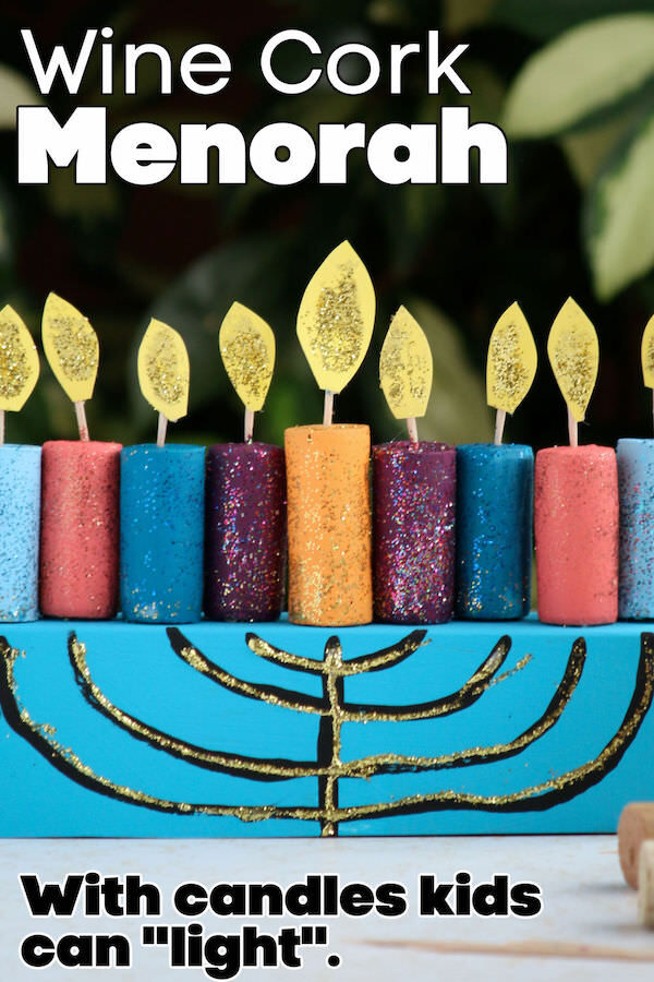 wine cork menorah craft with toothpick wicks and paper flames