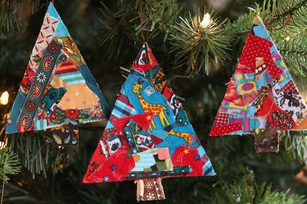 3 tree-shaped Christmas ornaments made out of cardboard and fabric scraps