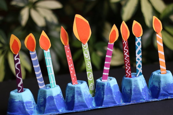 Egg Carton and Popsicle Stick Menorah