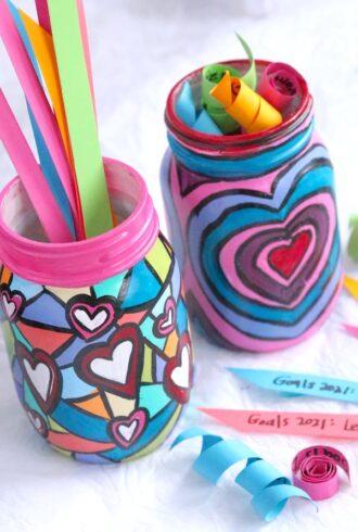 painted mason jars for kids goal setting activity